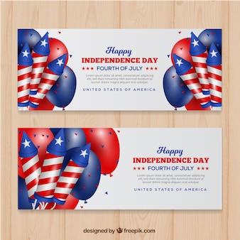 Bannières colorées avec éléments réalistes pour le jour de l'indépendance