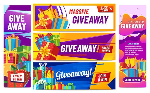 Bannières colorées de giveaway. offrir des cadeaux, présenter des boîtes avec des rubans. gagner un prix ou un prix au concours pour les publications sur les réseaux sociaux. annonce de blogueur internet, illustration vectorielle de quiz aléatoire