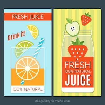 Bannières colorées de jus de fruits