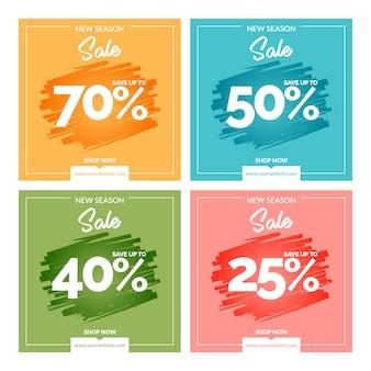 Bannières colorées modernes de vente
