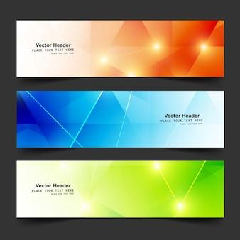 Bannières colorées polygonales