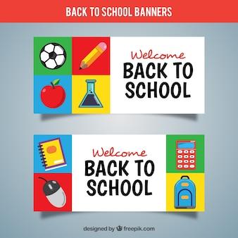 Bannières colorées retour à l'école