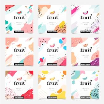 Bannières colorées de style memphis