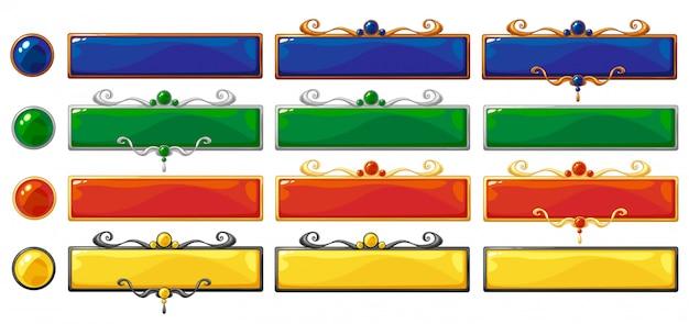 Bannières colorées de titre de vecteur de dessin animé pour la conception de jeux fantastiques. cadres de classement en bronze, argent et or avec pierres précieuses.