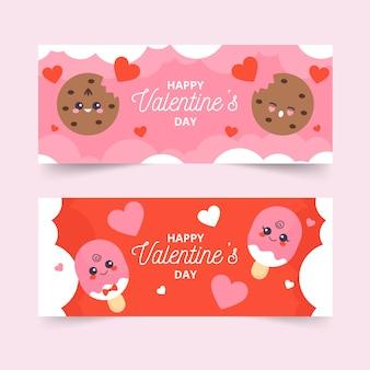 Bannières colorées de valentine plat
