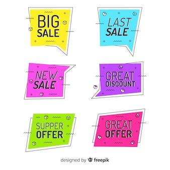 Bannières colorées de vente de memphis