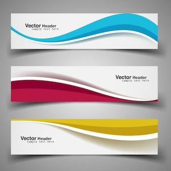 Bannières colorées wavy