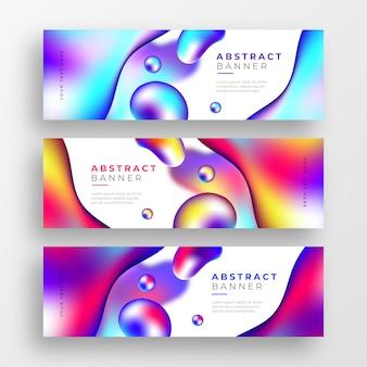 Bannières commerciales abstraites avec des formes colorées liquides