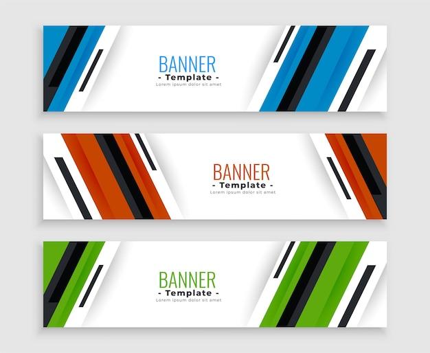 Bannières commerciales élégantes en trois couleurs