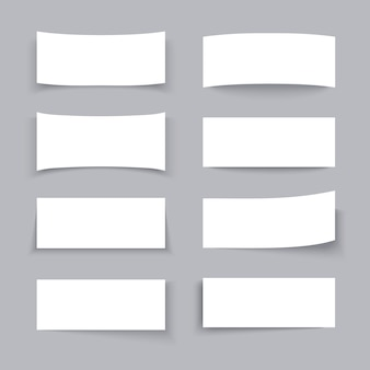 Bannières commerciales papier blanc vide avec différents effets de l'ombre définie. affiche vide en papier