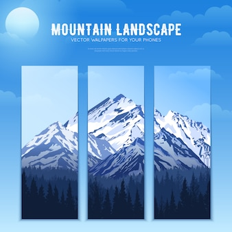 Bannières concept de conception de paysage de montagnes