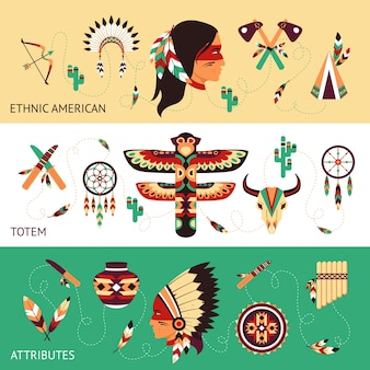 Bannières de concept de design ethnique