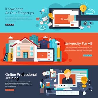 Bannières de concept d'éducation en ligne au design plat