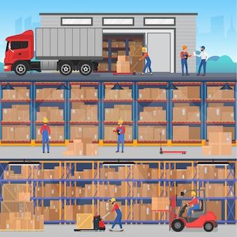 Bannières de concept avec entrepôt à l'intérieur et à l'extérieur avec des travailleurs