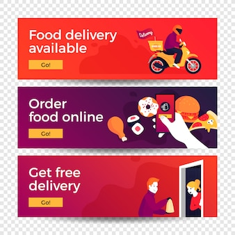 Bannières de concept de livraison de nourriture