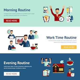 Bannières de concept de routine quotidienne homme d'affaires