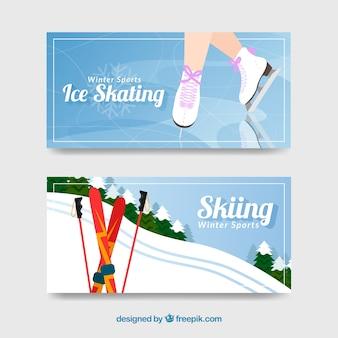 Bannières de concept de sports d'hiver avec des patins à glace féminins