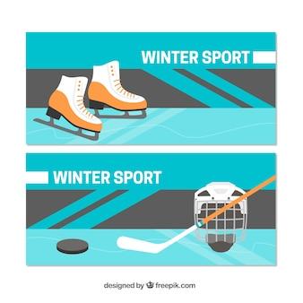 Bannières de concept de sports d'hiver avec patins à glace et hockey