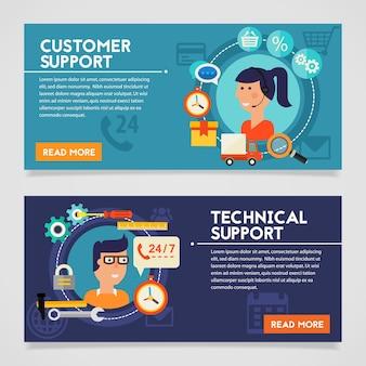 Bannières de concept de support client et technique. bannières web en ligne style plat vector illustration