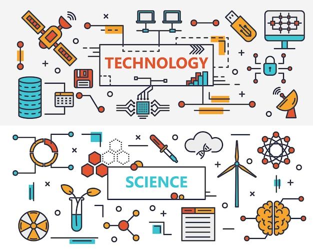 Bannières de concept de technologie et de science design plat mince ligne