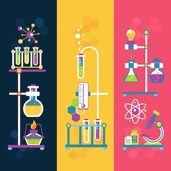 Bannières de conception de chimie