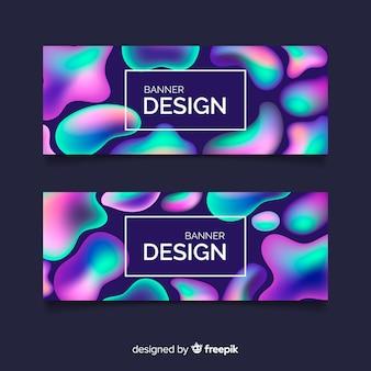 Bannières de conception liquide abstraite