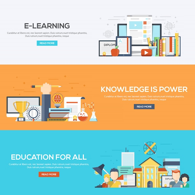 Bannières conçues à plat - e learning, knowledge is power and education for all
