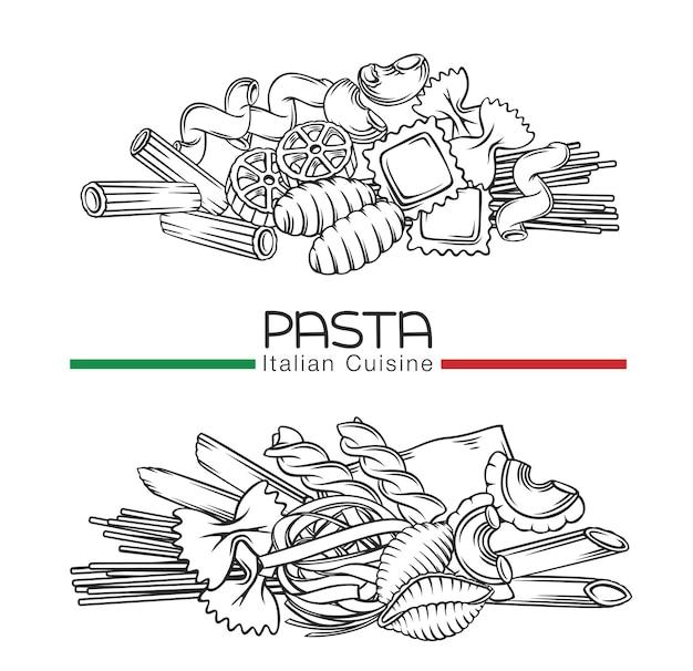 Bannières de contour de macaroni de pâtes italiennes illustration dessinée à la main dans un style rétro