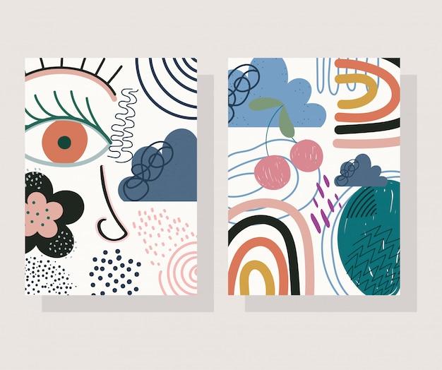 Bannières de couleur de collage imprimé contemporain et tendance dessinés à la main