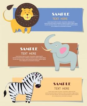Bannières de couleur de pépinière de trois animaux sauvages africains