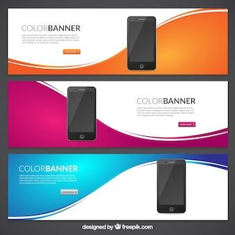 Bannières de couleurs avec des téléphones mobiles