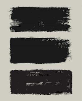 Bannières de coup de pinceau grunge noir