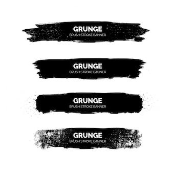 Bannières de coups de pinceau grunge noir