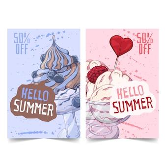 Bannières de crème glacée dessinées à la main