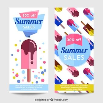 Bannières avec la crème glacée, les ventes d'été