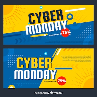 Bannières de cyber lundi coloré avec design plat