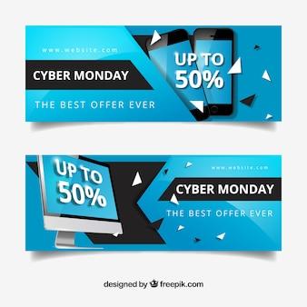 Bannières cyber lundi avec des remises