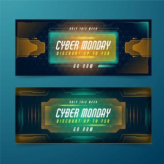 Bannières cyber monday au design plat