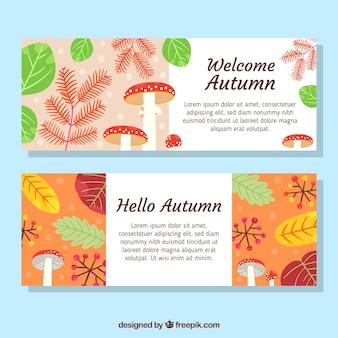 Bannières d'automne avec des feuilles colorées et des champignons