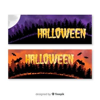 Bannières d'halloween créatives