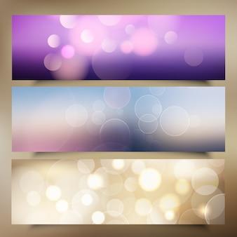Bannières de Noël avec la conception de lumières bokeh