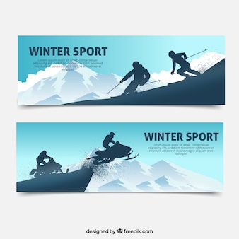 Bannières de sport d'hiver avec deux personnes