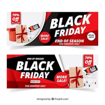 Bannières de vendredi noir avec l'image du panier