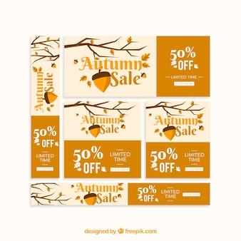 Bannières de vente automne dans un style plat