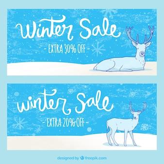 Bannières de vente d'hiver avec des rennes
