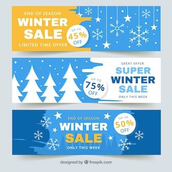 Bannières de vente d'hiver