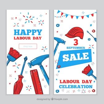 Bannières de vente de jour de travail avec des outils