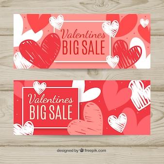 Bannières de vente Saint-Valentin dessinés à la main