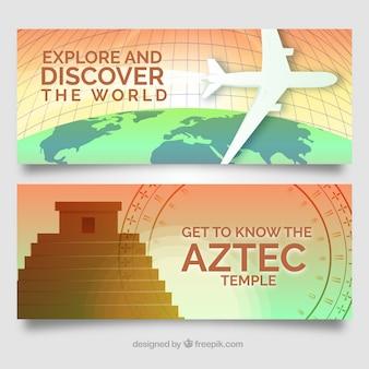 Bannières de voyage avec des destinations
