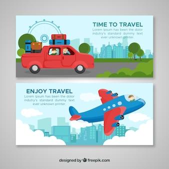 Bannières de voyage coloré avec un design plat